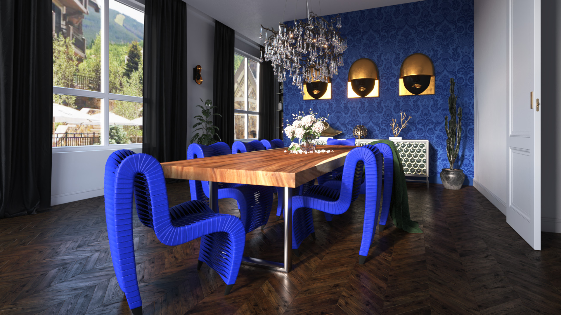 Luxury Dining Room With Natural Wood Table And Blue Seat Belt Dining Chairs